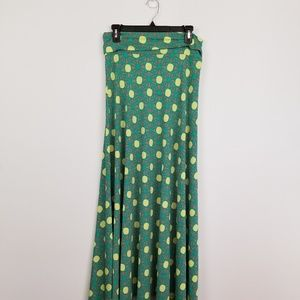 Lularoe green printed maxi skirt size small